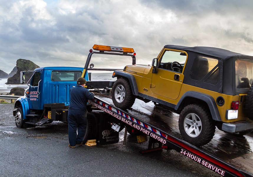This is a picture of a tow truck service.